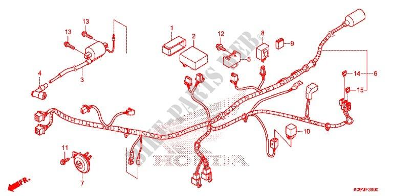 Wire Harness  Battery For Honda Wave 110 S  Kick Start 2013   Honda Motorcycles Malaysia