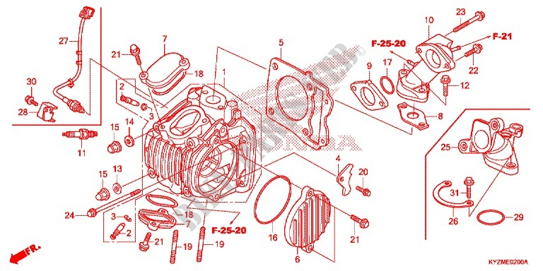 CYLINDER   HEAD for Honda FUTURE 125 Casted wheels, Rear brake disk 2014