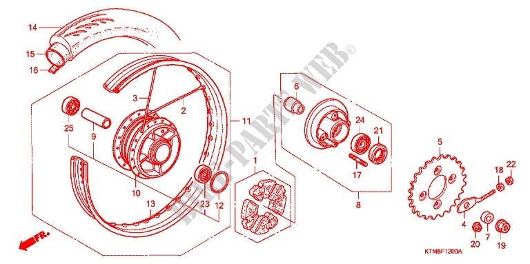 REAR WHEEL (1) for Honda WAVE 125 NEXT GENERATION 2007